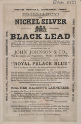 Advert for Nickel Silver Black Lead and Royal Palace Blue, cleaning and washing products